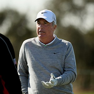 Curtis Strange chatting on the range during the PNC Father/Son Challenge Pro-Am at The Ritz Carlton Golf Club of Orlando.