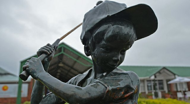 A statue of a child playing golf stands at the 2013 Nelson Mandela Championship, which benefits the Nelson Mandela Children's Fund.