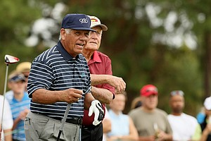 Lee Trevino and Jack Nicklaus on Saturday at the PNC Father/Son Challenge at The Ritz Carlton Golf Club of Orlando.
