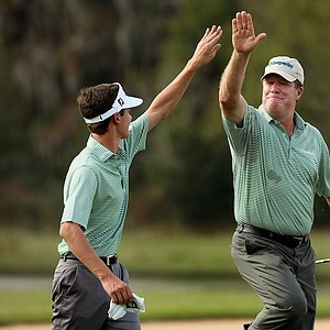 Steve Elkington and his son, Sam, made eagle at No. 14 on Saturday at the PNC Father/Son Challenge at The Ritz Carlton Golf Club of Orlando.