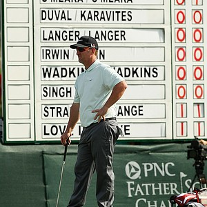 David Duval wait to putt at No. 18 on Saturday at the PNC Father/Son Challenge at The Ritz Carlton Golf Club of Orlando.