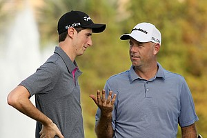 Stewart Cink and his son, Connor, posted a 61 on Saturday at the PNC Father/Son Challenge at The Ritz Carlton Golf Club of Orlando.