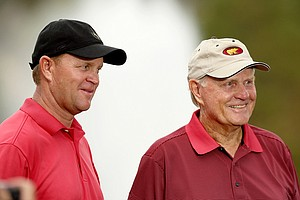 Jack Nicklaus and his son Gary, posted a 63 on Saturday at the PNC Father/Son Challenge at The Ritz Carlton Golf Club of Orlando.