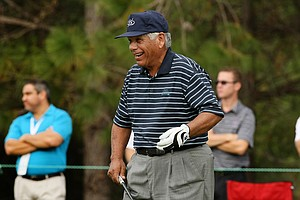 Lee Trevino and his son, Daniel, posted a 70 on Saturday at the PNC Father/Son Challenge at The Ritz Carlton Golf Club of Orlando.