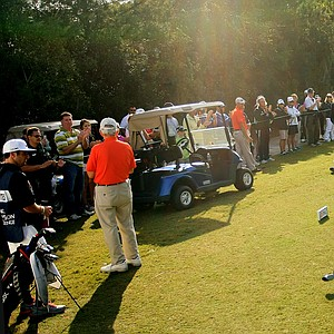 Jack Nicklaus acknowledges the crowd on the first tee on Sunday at the PNC Father/Son Challenge at The Ritz Carlton Golf Club of Orlando.