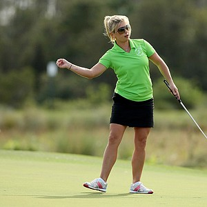 Gretchen Chappo, daughter of Fuzzy Zoeller, makes birdie on Sunday at the PNC Father/Son Challenge at The Ritz Carlton Golf Club of Orlando.