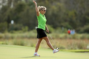 Gretchen Chappo, daughter of Fuzzy Zoeller, reacts to making birdie on Sunday at the PNC Father/Son Challenge at The Ritz Carlton Golf Club of Orlando.