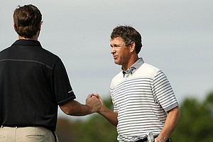 Lee Janzen with his son, Connor, on Sunday at the PNC Father/Son Challenge at The Ritz Carlton Golf Club of Orlando.