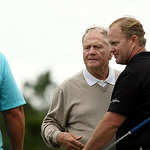 Jack Nicklaus and his son Gary after the PNC Father/Son Challenge at The Ritz Carlton Golf Club of Orlando.