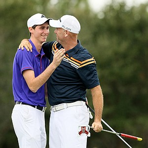 Stewart Cink and his son Conner eagled the 18th hole, winning by three-strokes, on Sunday at the PNC Father/Son Challenge at The Ritz Carlton Golf Club of Orlando.