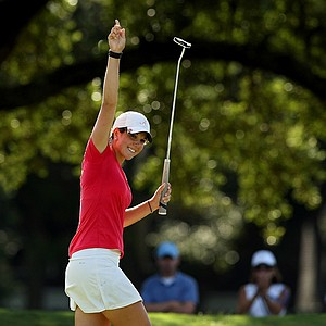 Emma Talley celebrates her birdie at No. 16 during the quarterfinals of match play at the 2013 U. S. Women's Amateur at Country Club of Charleston.