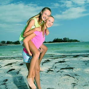 Jessica and Nelly Korda at Coquina Beach in Bradenton Beach. Nelly played in her first U. S. Open with her big sister and tour player, Jessica.