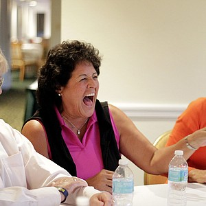 Nancy Lopez shares a laugh with Pat Bradley and Beth Daniel during Golfweek's Legends Roundtable during the Legends Tour at Innisbrook.