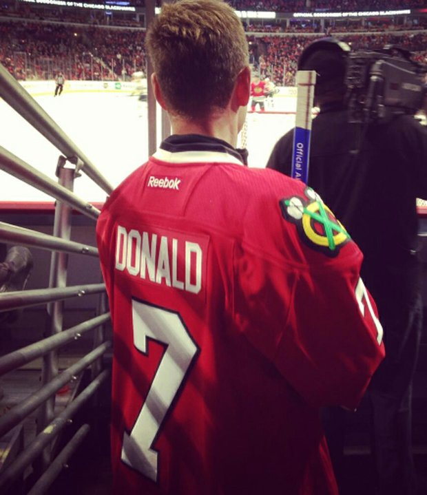 Luke Donald was given a Chicago Blackhawks jersey on Dec. 15 before going on the ice.