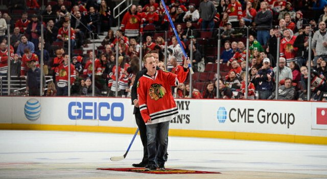 Luke Donald during the second intermission at the Chicago Blackhawks game on Dec. 15.