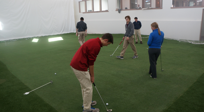 Some players practice at the new indoor facility at Shattack-St. Mary's.