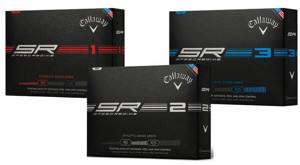 The Callaway Speed Regime golf balls: SR1, SR2 and SR3.