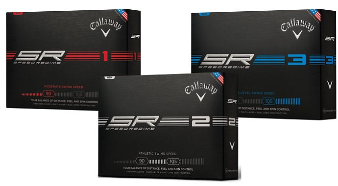 The Callaway Speed Regime golf balls: SR1, SR2 and SR3.