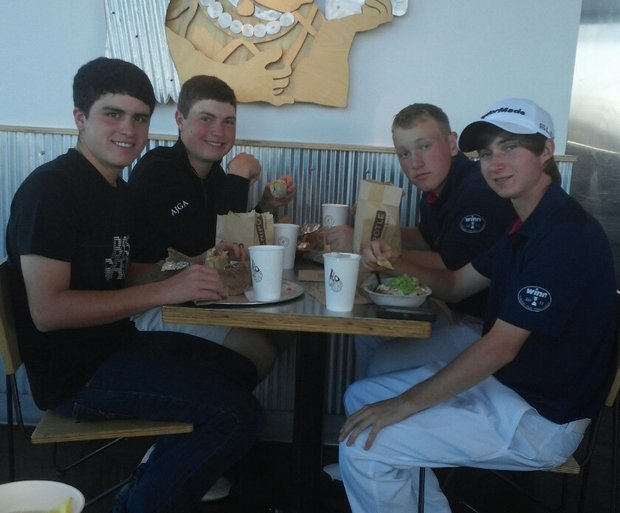 Clockwise from back right, Brad Dalke, Austin Connelly, Jorge Garcia and Ben Griffin share a meal together at Chipotle in Las Vegas, where they were competing in the AJGA Winn Grips Junior Cup.