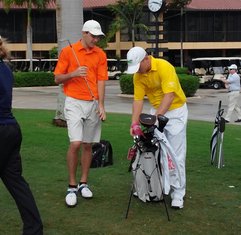 Brad Dalke and Scottie Scheffler during the stroke-play portion of the AJGA Polo Golf Junior Classic.