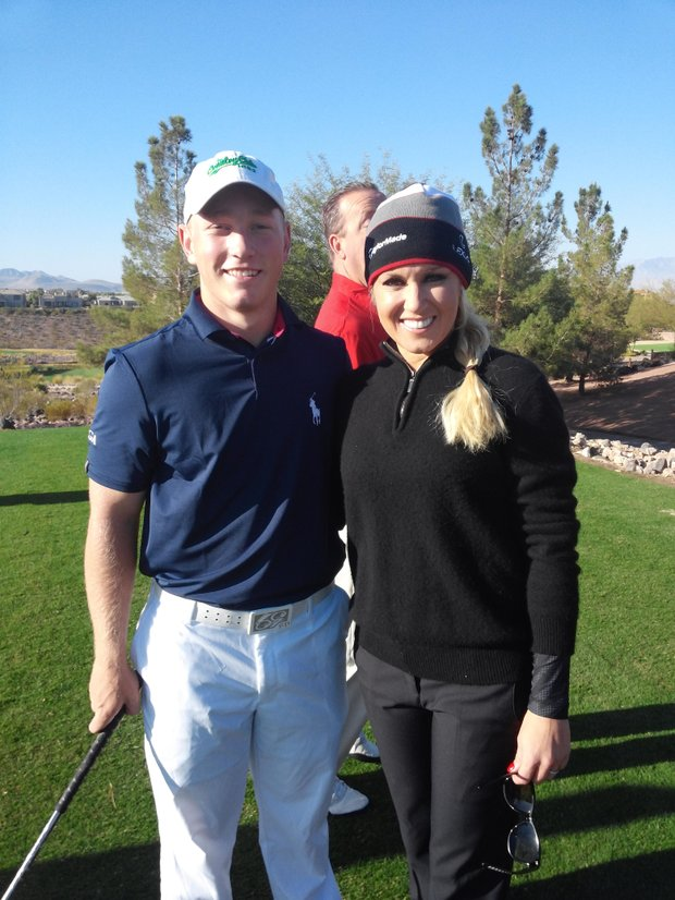 Brad Dalke with West captain Natalie Gulbis at the 2013 AJGA Winn Grips Junior Cup.