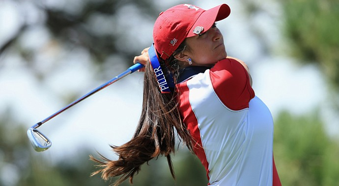 Gerina Piller of the United States team during the Solheim Cup.