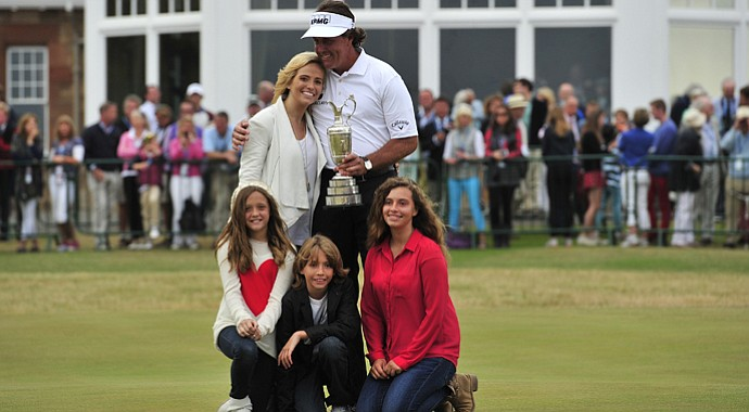 Phil Mickelson poses with his wife Amy (top left) and children Evan Samuel, Amanda Brynn and Sophia Isabel after winning the 2013 Open Championship at Muirfield.