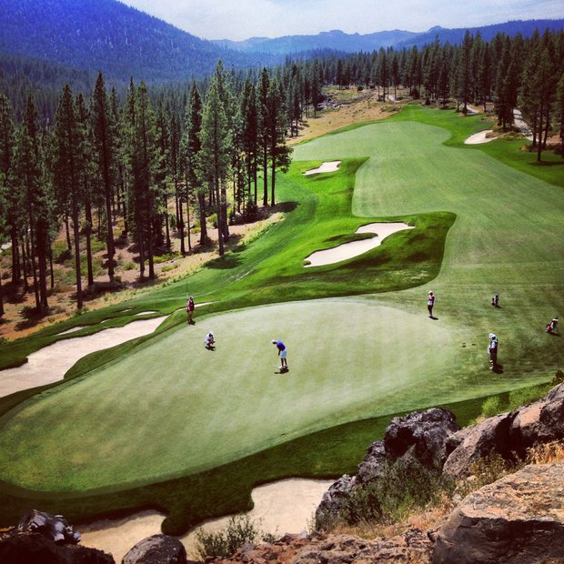 A view of the 18th green from the clubhouse at Martis Camp during the 2013 U.S. Junior Amateur.