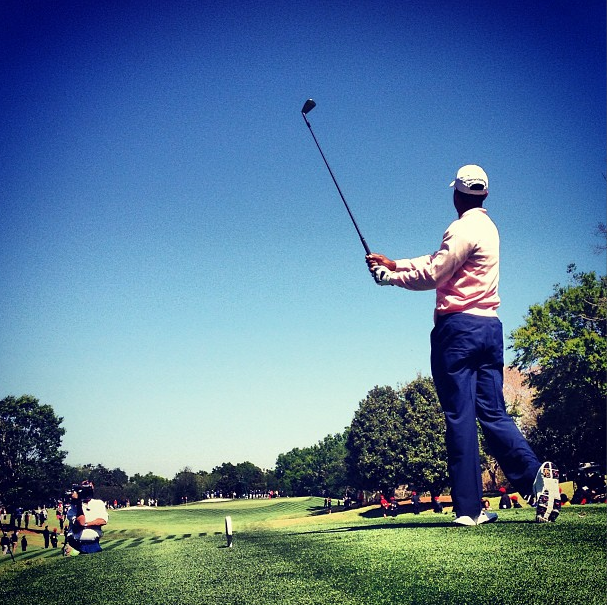Tiger Woods during the 2013 Tavistock Cup.