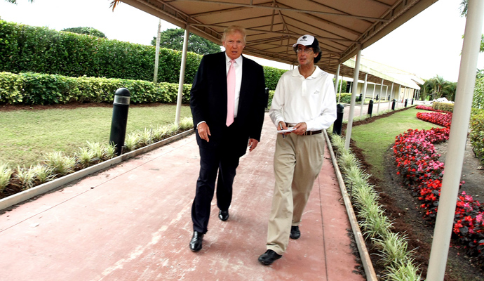 Donald Trump (left) and Golfweek's Bradley S. Klein chat about Doral's makeover.