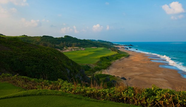 The 17th hole at Shanqin Bay on Hainan Island in China.