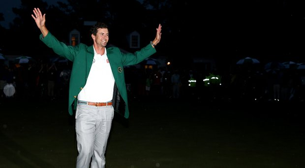 Adam Scott was named GWAA Men's Player of the Year by only five votes over Tiger Woods.