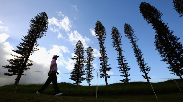 Jason Dufner walks to the tee box during Round 2 of the Hyundai Tournament of Champions at the Plantation Course.