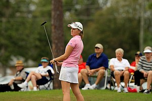 Ali Cowan watches her putt at No. 9 during the 59th Harder Hall Women's Invitational at Harder Hall Country Club.