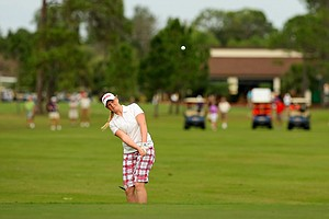 India Clyburn chips up at No. 1 during the 59th Harder Hall Women's Invitational at Harder Hall Country Club.