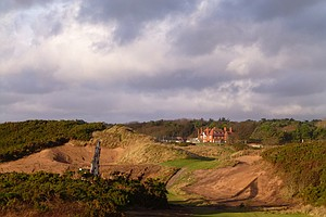 Renovation work at Royal Troon in 2014, advancing its hosting of the 2016 British Open championship.