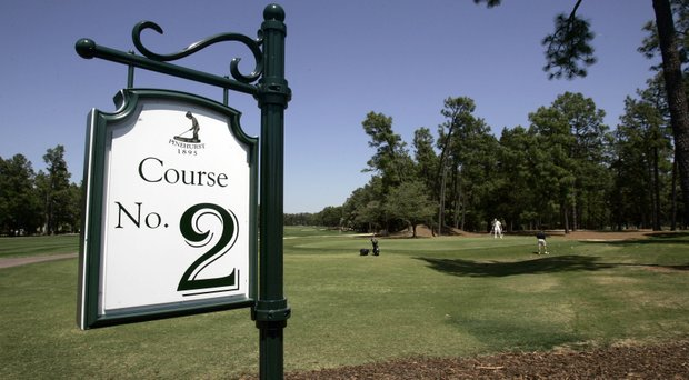 This April 23, 2007 file photo shows a sign identifying the Pinehurst No. 2 golf course at the Pinehurst Resort and Country Club in Pinehurst, N.C.