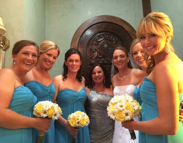 Brittany Lang, at her wedding, and her mother, Pam Lang, in silver, were surrounded by LPGA friends, from left: Angela Stanford, Brittany Lincicome, Katie Futcher, Chelsea Somers and Paula Creamer.