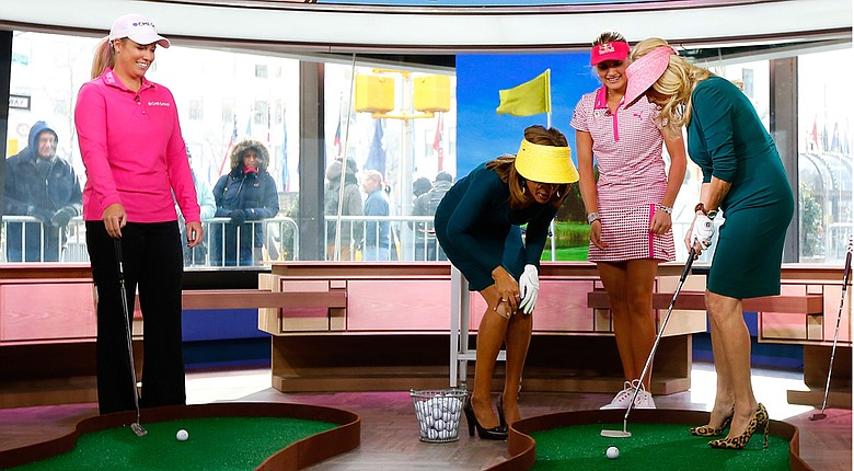 Brittany Lincicome during an LPGA media blitz early in 2014 while appearing on the Today Show with Hoda Kotb, from left, Lexi Thompson and Kathie Lee Gifford.