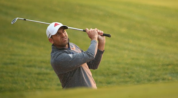 Sergio Garcia in action during the first round of the Abu Dhabi HSBC Golf Championship. Garcia fired a 4-over 76 while dealing with an injury that occurred during the round.