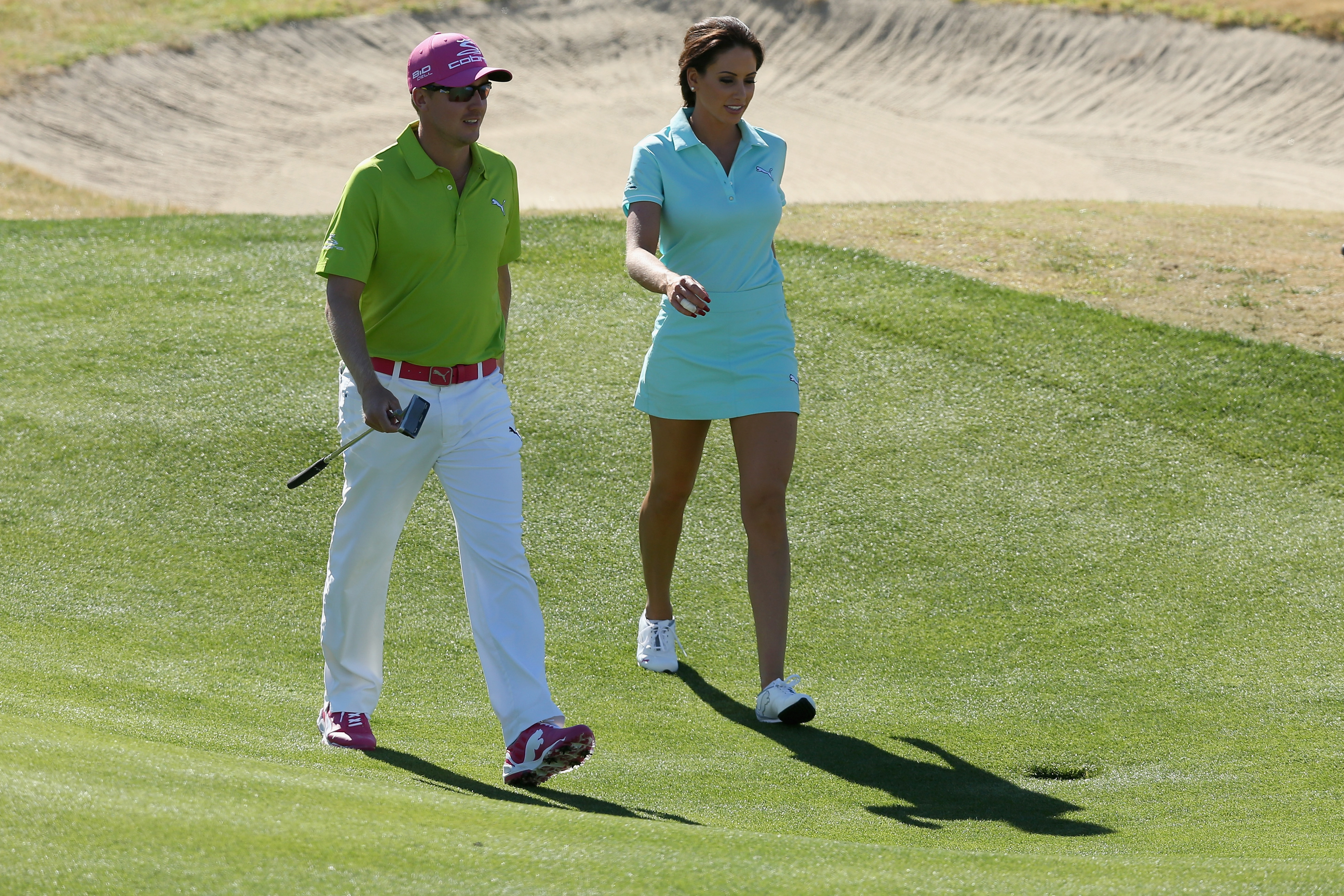 Jonas Blixt and Golf Channel's Holly Sonders during the second round of the Humana Challenge.