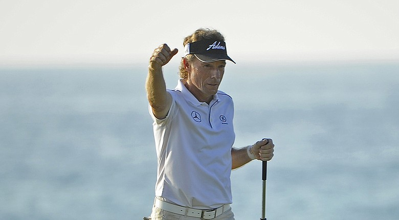 Bernhard Langer during the final round of his win at the Champions Tour's 2014 Mitsubishi Electric Championship in Hawaii.