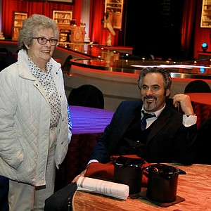 David Feherty, right, with his mother, Vi,  at Universal's Sound Stage 20 running through a dress rehearsal for his upcoming live shows.