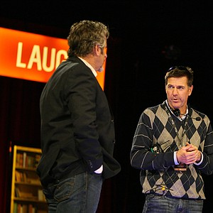 David Feherty, left, talks with his producer, Keith Allo, during a dress rehearsal at Universal's Sound Stage 20.