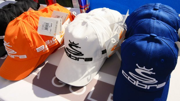 Cobra Puma hats for winners of a game held on the range during the PGA Show Demo Day at Orange County National.