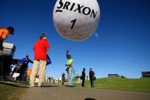 A Srixon golf ball balloon at the PGA Show Demo Day at Orange County National.