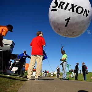 A Srixon golf ball balloon at the PGA Show Demo Day at Orange County National.