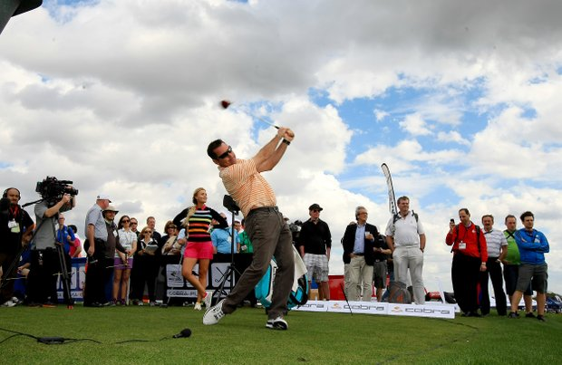 Rich Beem and Blair O'Neal competed against each other in a long drive competition with Cobra Puma at the PGA Show Demo Day at Orange County National.