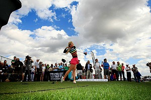 Blair O'Neal with Cobra Puma shows off her swing at PGA Show Demo Day at Orange County National.