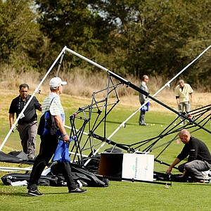 A few tents were mangled during heavy winds at the PGA Show Demo Day at Orange County National.